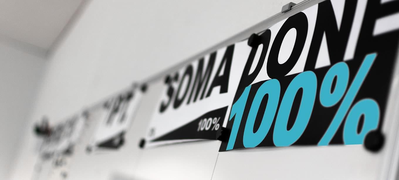 Whiteboard mit den Begriffen SOMA und DONE 100%