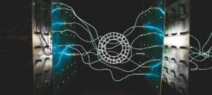 VSCO Logo auf technischem abstrakten Hintergrund
