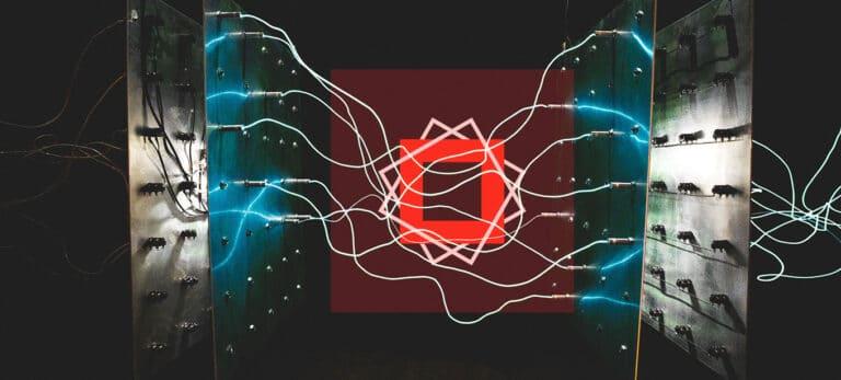 Spark Post Logo auf technischem abstrakten Hintergrund